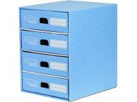 Bankers Box Style Ladeblok Blauw Wit 4 Laden